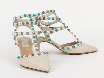 Photo of The Designer Shoe Collection Valentino, Ferragamo + More Valentino // Rockstud Rolling Turquoise Stone Heels // White (Euro: 34.5) by Touch Of Modern