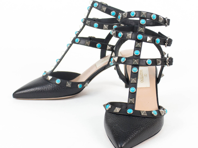 Photo of The Designer Shoe Collection Valentino, Ferragamo + More Valentino // Rockstud Rolling Turquoise Stone Heels V2 // Black (Euro: 34) by Touch Of Modern
