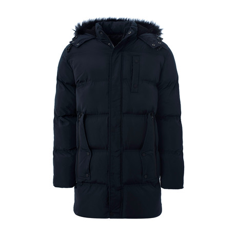 Parka Style Puffer Jacket + Fur Lined Hood // Navy (M)
