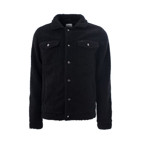 Buttoned Sherpa Jacket // Black (M)
