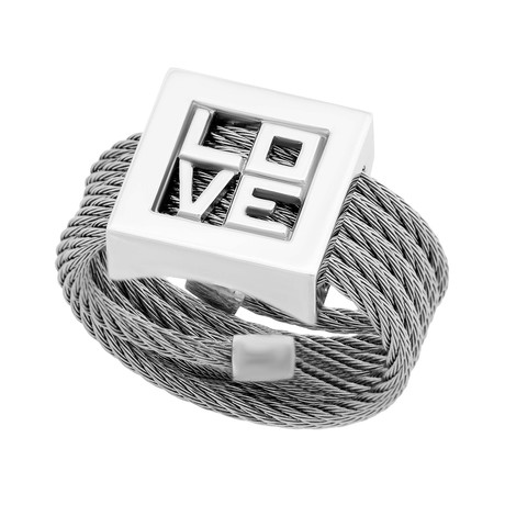 Charriol // Forever Love Stainless Steel + Cable Ring // Ring Size: 7.25