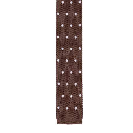 Roda // Skinny Knit Polka Dot Tie // Beige