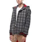 Nate Hooded Plaid Wool Blend Jacket // Grey (L)
