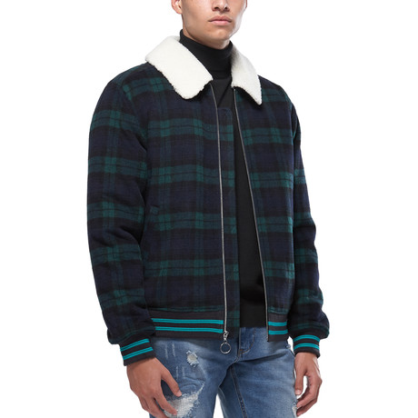 Ace Wool Blend Jacket With Sherpa Collar // Green (XS)
