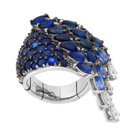 Stefan Hafner 18k White Gold Diamond + Sapphire Ring // Ring Size: 6