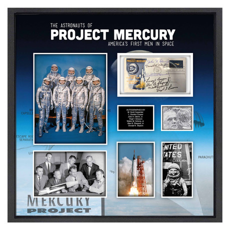 Framed + Autographed FDC Collage // Project Mercury