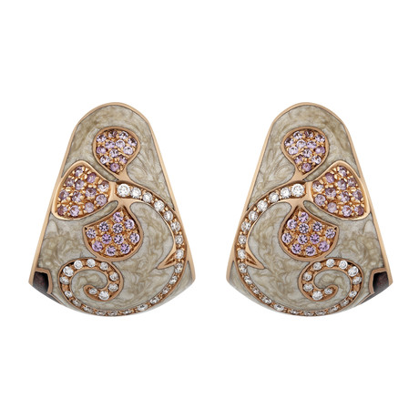 Nouvelle Bague Petali 18k Rose Gold Diamond + Sapphire Tan Enamel Huggie Earrings