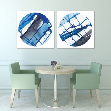 Blue Stripes // Reverse Printed Tempered Art Glass (Blue Stripes 1)