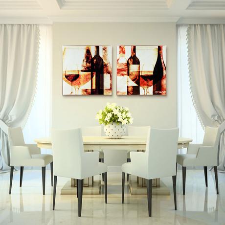 Wine Bottles // Anodized Aluminum Rose Gold Frame (Wine Bottles 1)