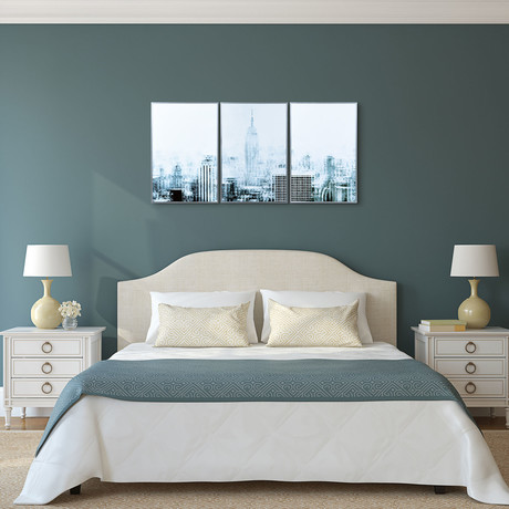 Empire State Panoramic // Triptych // Anodized Gun Powder Aluminum Frame