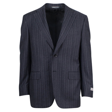 Canali // Cedric Striped Wool 2 Button Suit // Gray (US: 46S)