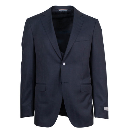 Canali // Bennett Striped Wool 2 Button 3 Piece Suit // Blue (US: 46S)