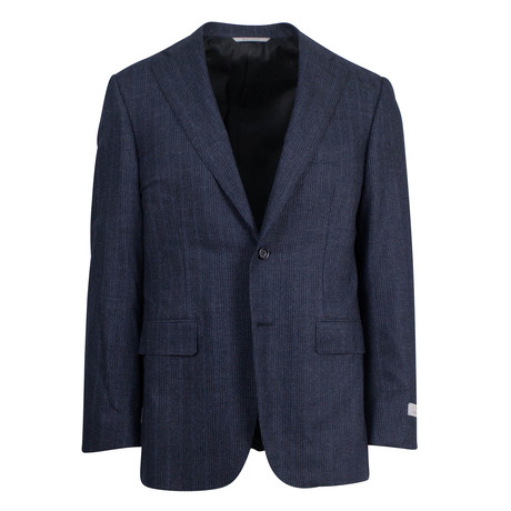 Canali // Darwin Yale Striped Wool 2 Button Slim Fit Suit // Blue (US: 46S)