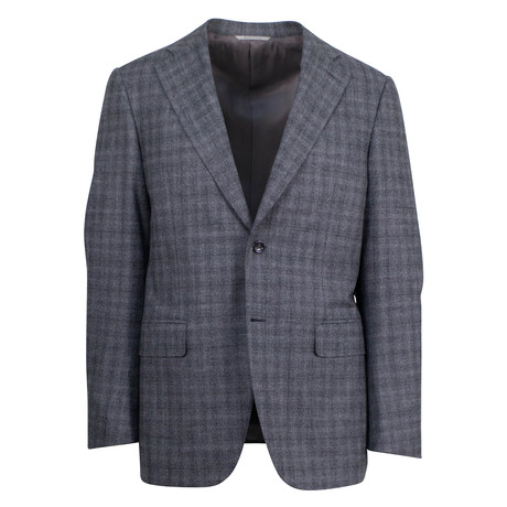 Canali // Vicente Stretch Plaid Wool Blend 2 Button Slim Suit // Gray (US: 46S)