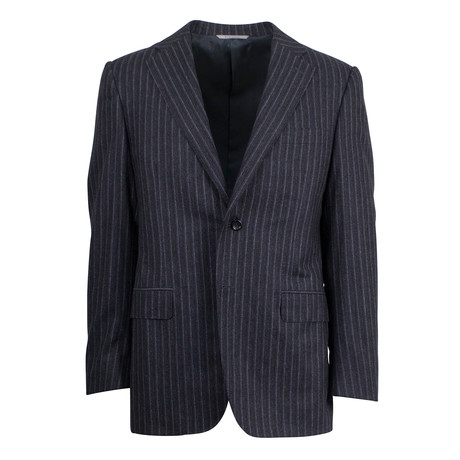 Canali // Jasper Striped Wool 2 Button Suit // Gray (US: 46S)