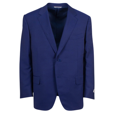 Canali // Travel Wool Blend Portly Fit Suit // Blue (US: 46S)