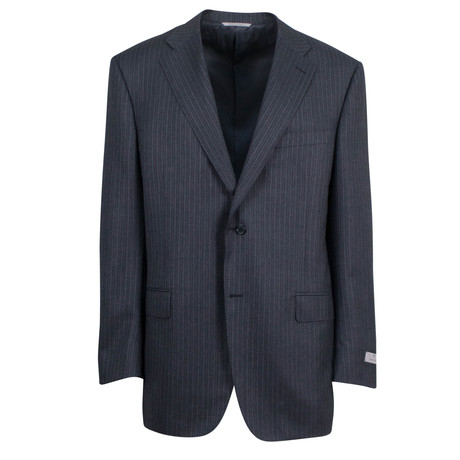 Canali // Striped Wool Trim Fit Suit // Gray (US: 46S)
