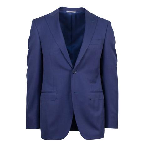 Canali // Wool Peak Lapels Slim Fit Suit // Navy (US: 46S)