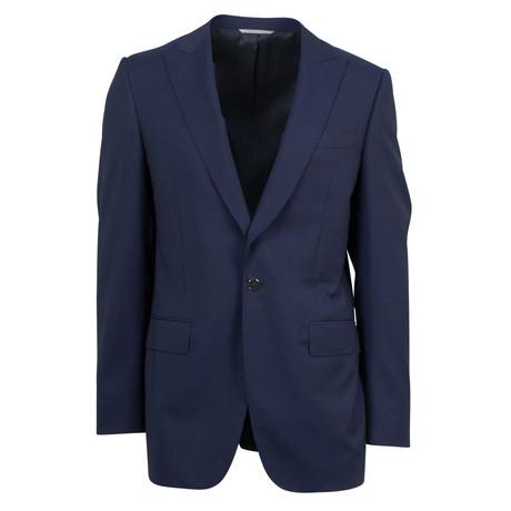 Canali // Striped Wool Peak Lapels Slim Fit Suit // Blue (US: 46S)