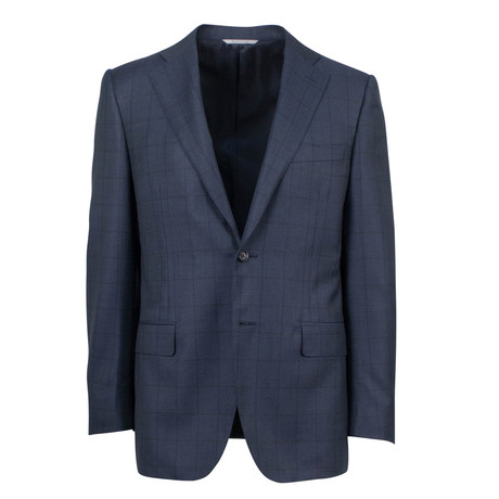 Canali // Windowpane Wool Classic Fit Suit // Gray (US: 46S)
