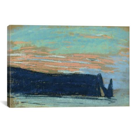 """The Cliff at Etretat, c.1885 (18""""W x 12""""H x 0.75""""D)"""
