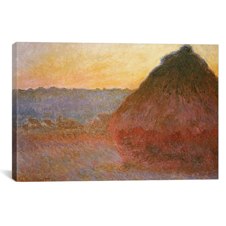 """Haystacks, Pink and Blue Impressions, 1891 (18""""W x 12""""H x 0.75""""D)"""