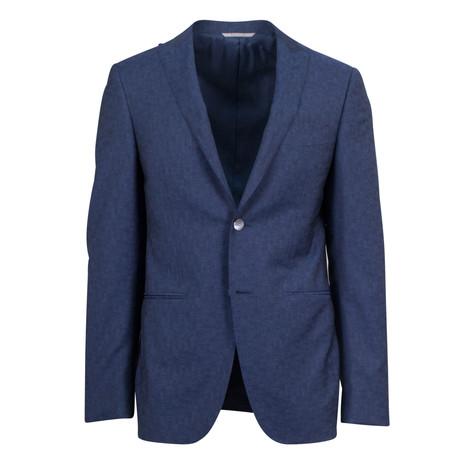 Canali // Wool Peak Lapels 2 Button Slim Fit Suit // Blue (US: 46S)