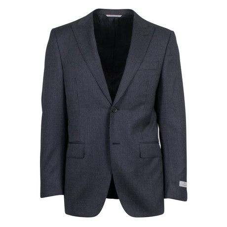 Canali // Striped Wool Peak Lapels 2 Button Slim Fit Suit // Gray (US: 46S)