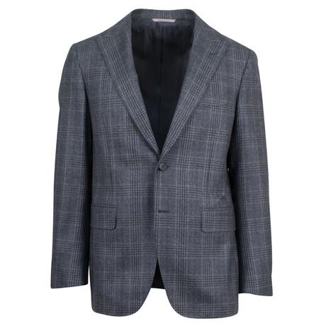 Canali // Plaid Wool Peak Lapels 2 Button Slim Fit Suit // Gray (US: 46S)