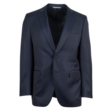 Canali // Arturo Striped Wool 2 Button Suit // Blue (US: 46S)