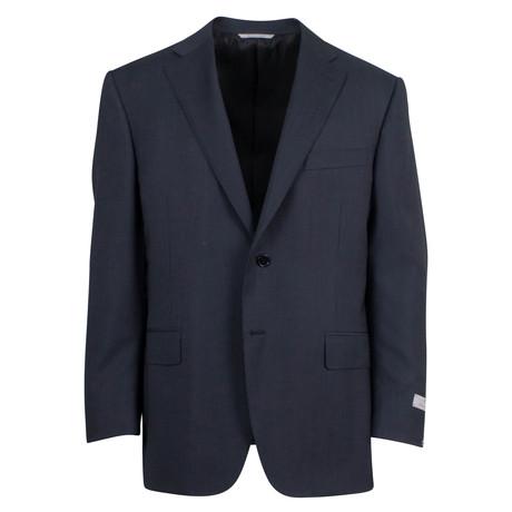Canali // Antonio Striped Wool 2 Button Suit // Black (US: 46S)