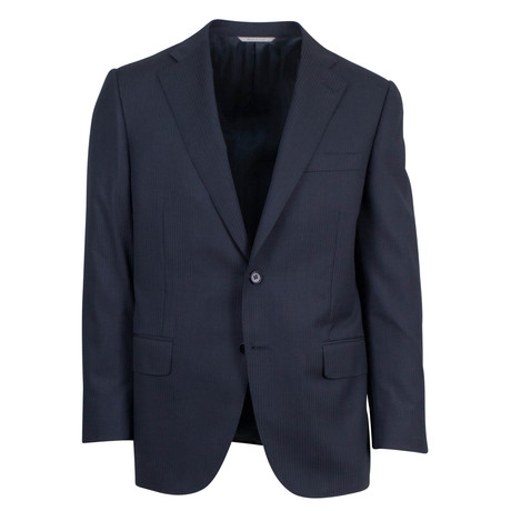 Canali // Herringbone Wool 2 Button Portly Fit Suit // Blue (US: 46S)