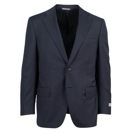 Canali // Travel Wool 2 Button Portly Fit Suit // Black (US: 46S)