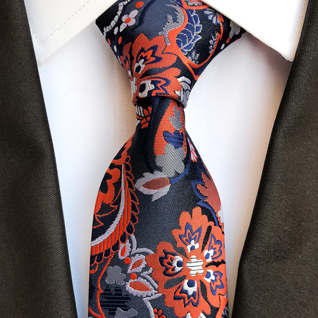 Lang Tie // Black + Navy + Orange