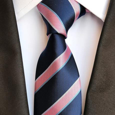 Handmade Neck Tie // Blue + Pink Stripes