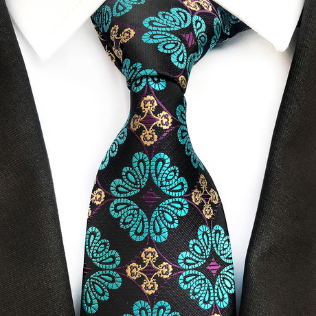 Mullen Silk Tie // Black + Teal
