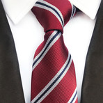 Lennox Tie // Red + White + Black Stripes