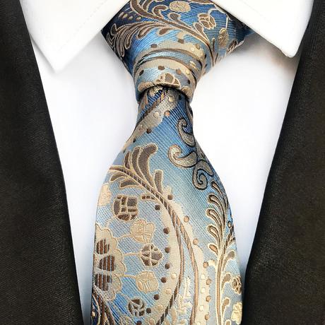 Thorne Silk Tie // Light Blue + Tan