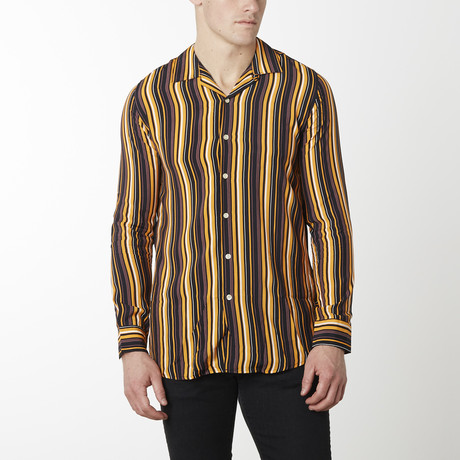 Striped Camp Collar Shirt // Brown Stripe (S)