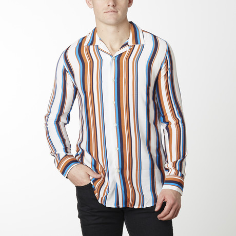 Striped Camp Collar Shirt // White Stripe (S)