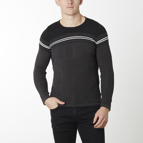 Stripes + Stars Knit Long Sleeve // Anthracite Black (M)