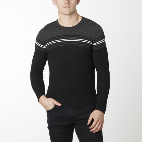 Stripes + Stars Knit Long Sleeve // Black Anthracite (M)