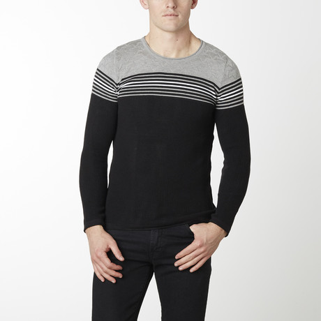Stripes + Stars Knit Long Sleeve // Black + Grey (M)