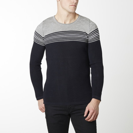 Stripes + Stars Knit Long Sleeve // Navy + Grey (M)