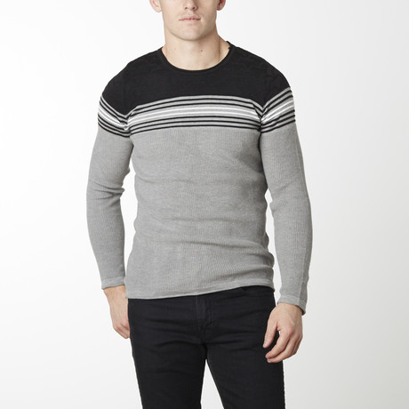 Stripes + Stars Knit Long Sleeve // Grey + Black (M)