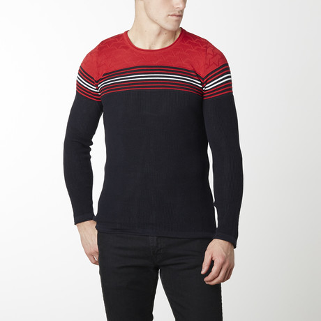 Stripes + Stars Knit Long Sleeve // Navy + Red (M)