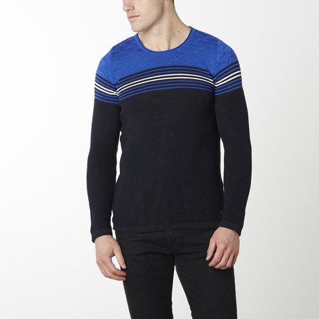 Stripes + Stars Knit Long Sleeve // Navy Sax (M)