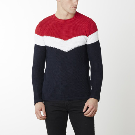 Victory Sweater // Navy + Red (M)