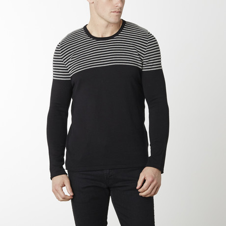Shoulder Strip Knit Long Sleeve Melange // Black Melange (M)