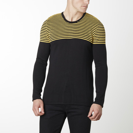 Shoulder Strip Knit Long Sleeve // Black + Yellow (M)